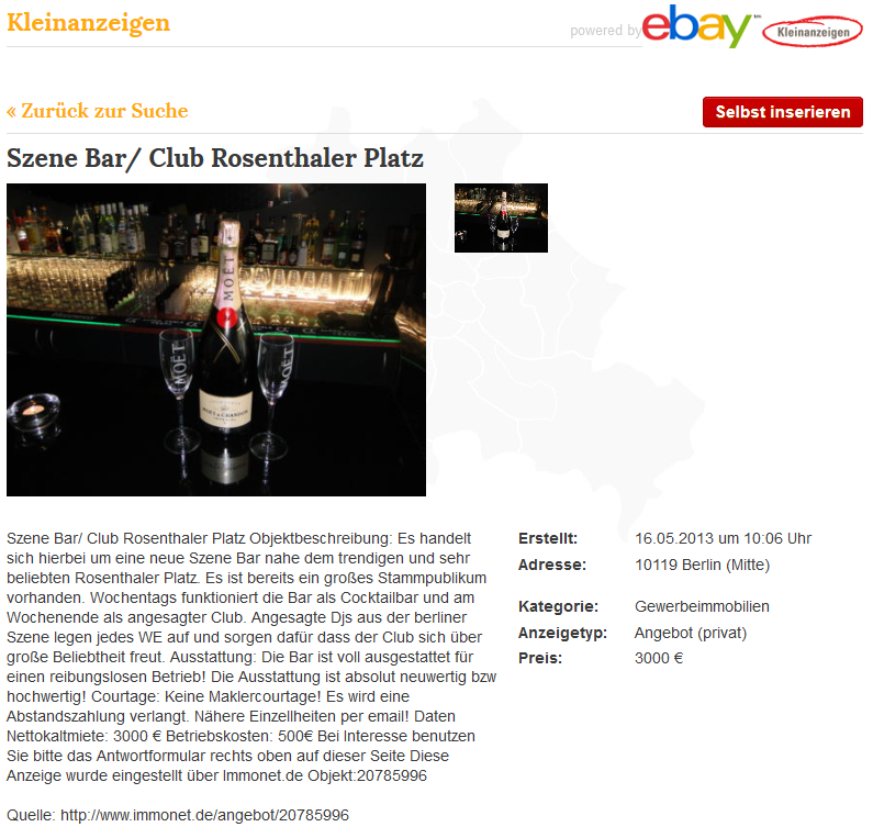 szene bar ebay kleinanzeigen the clubmap. Black Bedroom Furniture Sets. Home Design Ideas